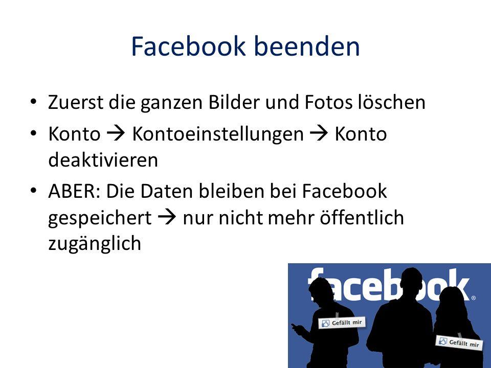 Facebook beenden Zuerst die ganzen Bilder und Fotos löschen