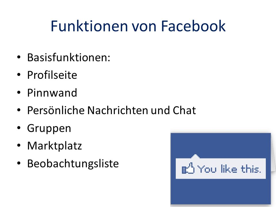 Funktionen von Facebook