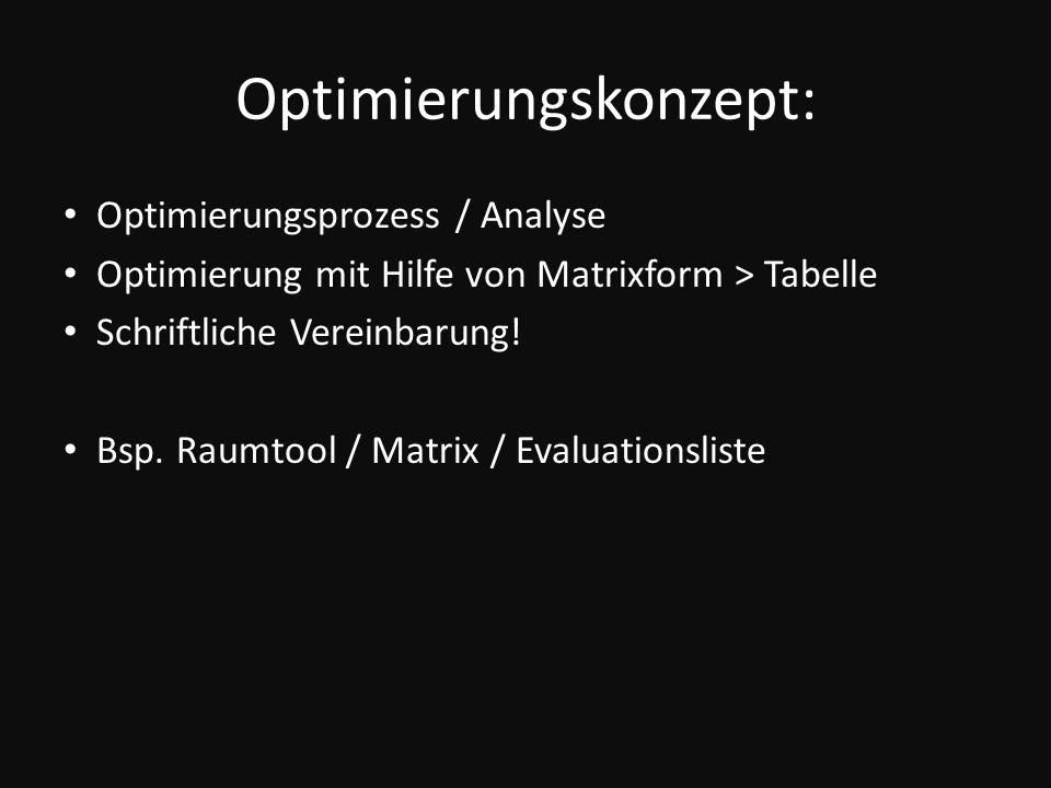 Optimierungskonzept: