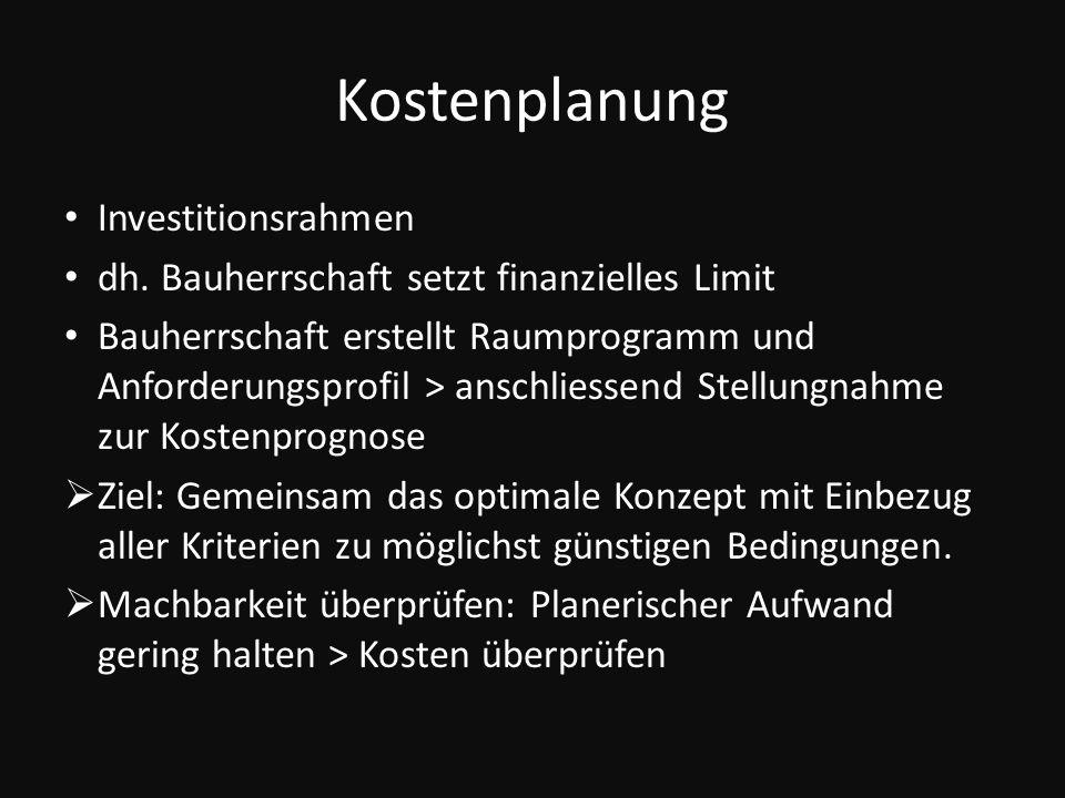 Kostenplanung Investitionsrahmen