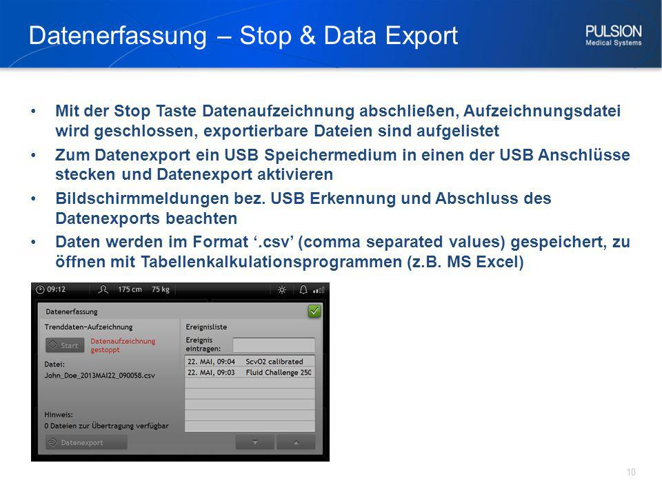 Datenerfassung – Stop & Data Export