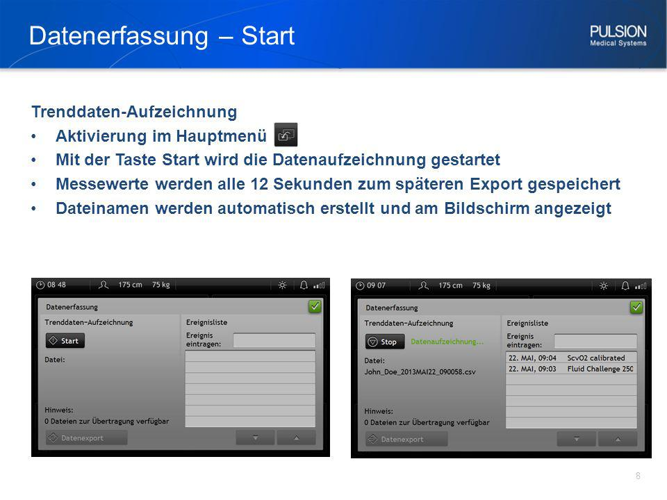 Datenerfassung – Start