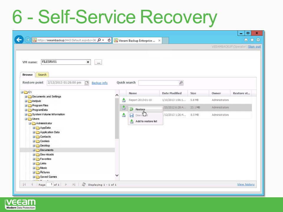 6 - Self-Service Recovery