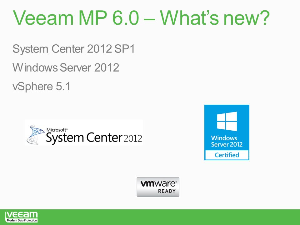 Veeam MP 6.0 – What's new System Center 2012 SP1 Windows Server 2012