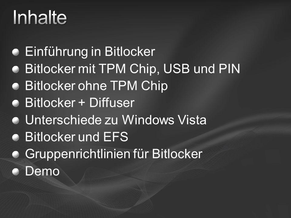 Inhalte Einführung in Bitlocker Bitlocker mit TPM Chip, USB und PIN