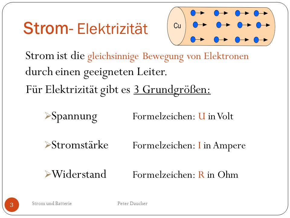 Strom- Elektrizität Strom ist die gleichsinnige Bewegung von Elektronen durch einen geeigneten Leiter.