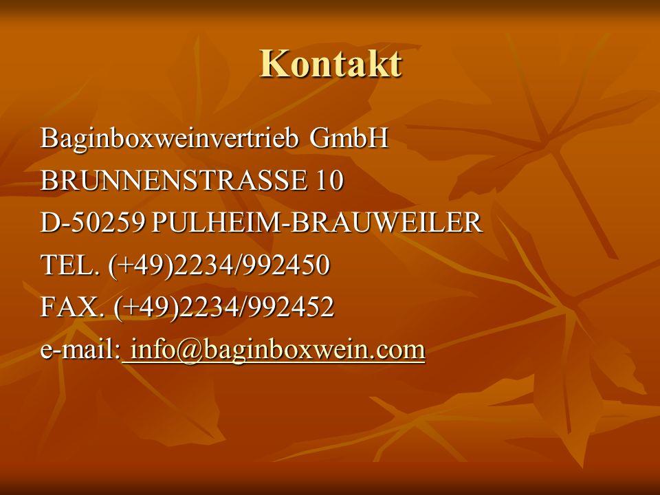 Kontakt Baginboxweinvertrieb GmbH BRUNNENSTRASSE 10