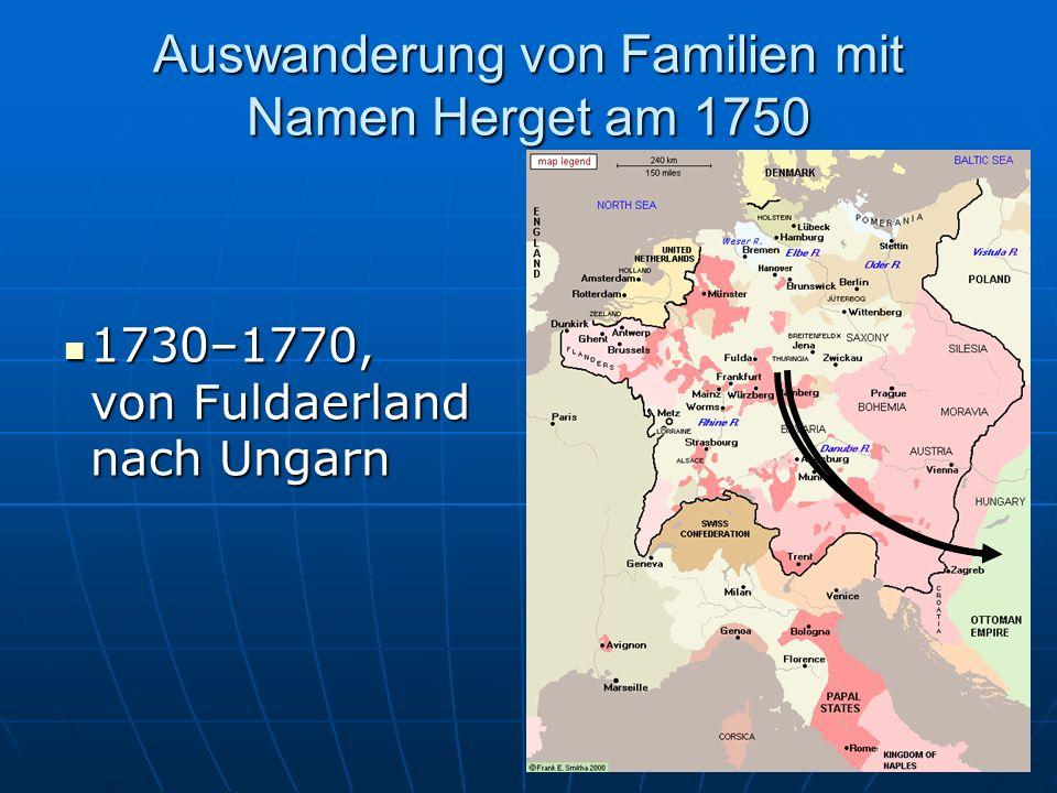 Auswanderung von Familien mit Namen Herget am 1750