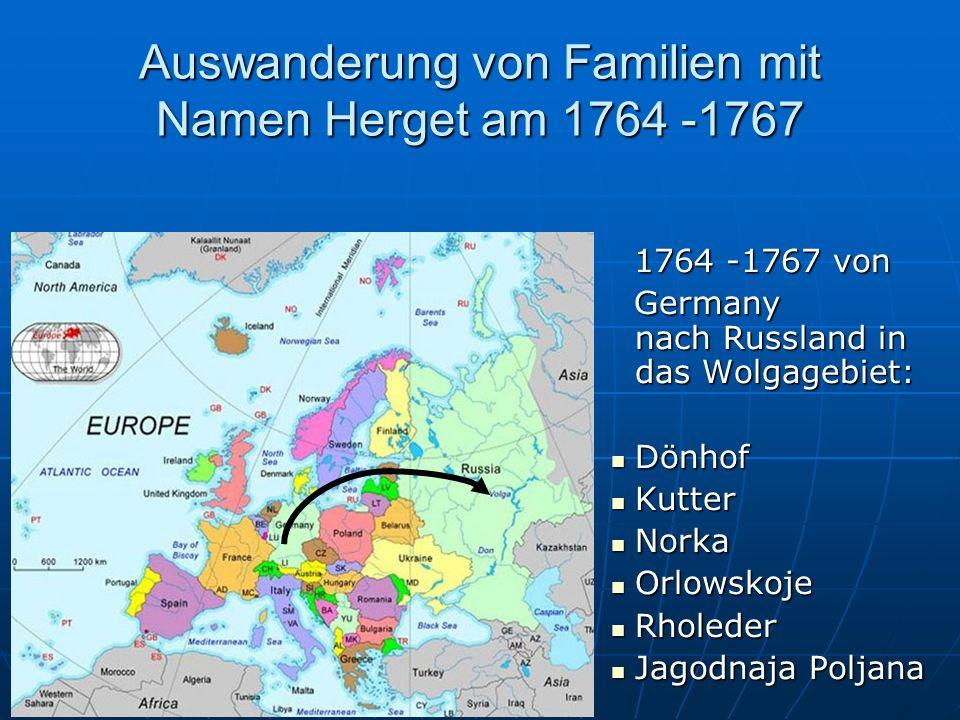 Auswanderung von Familien mit Namen Herget am 1764 -1767