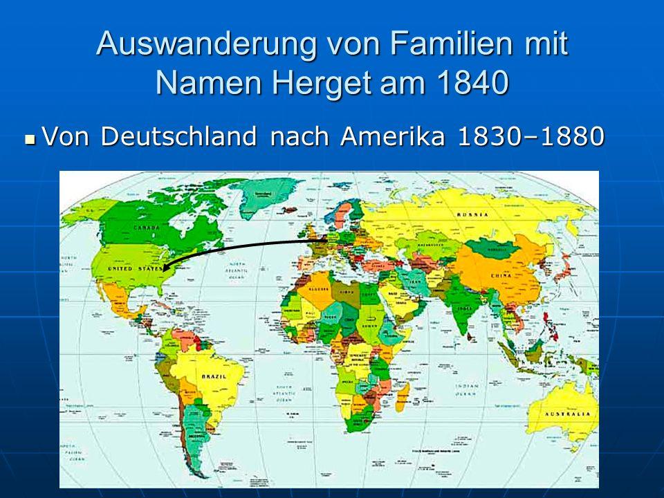 Auswanderung von Familien mit Namen Herget am 1840