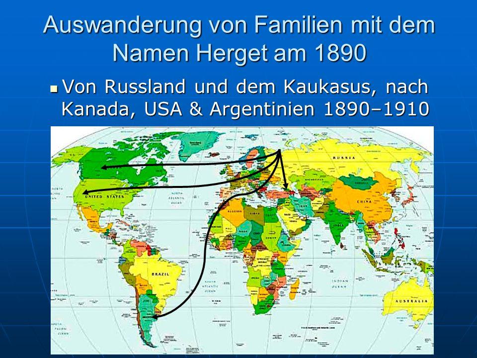 Auswanderung von Familien mit dem Namen Herget am 1890