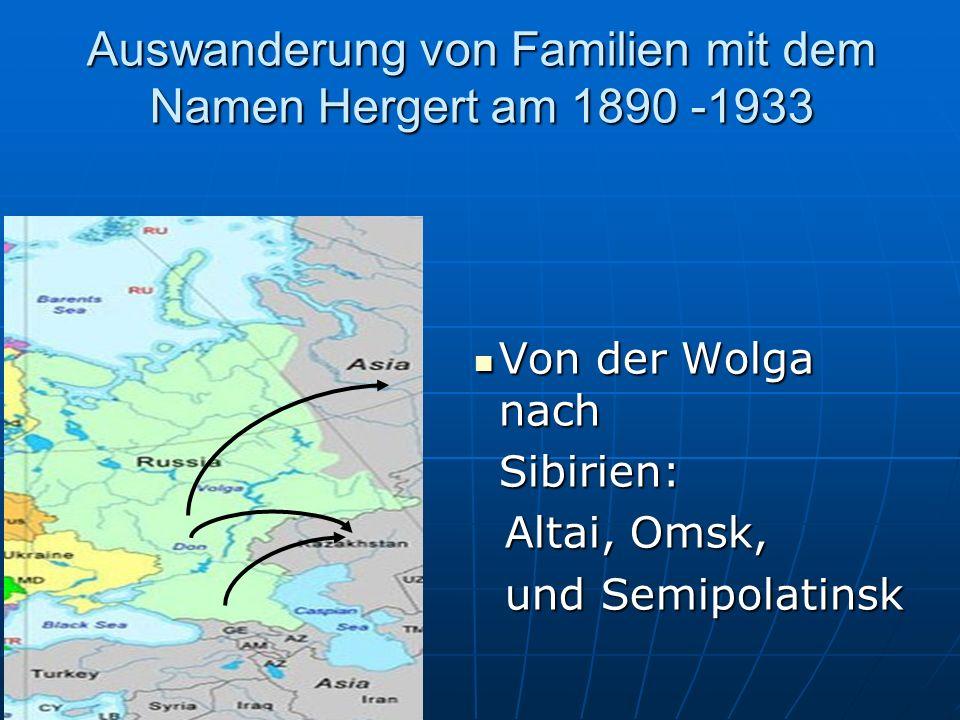 Auswanderung von Familien mit dem Namen Hergert am 1890 -1933