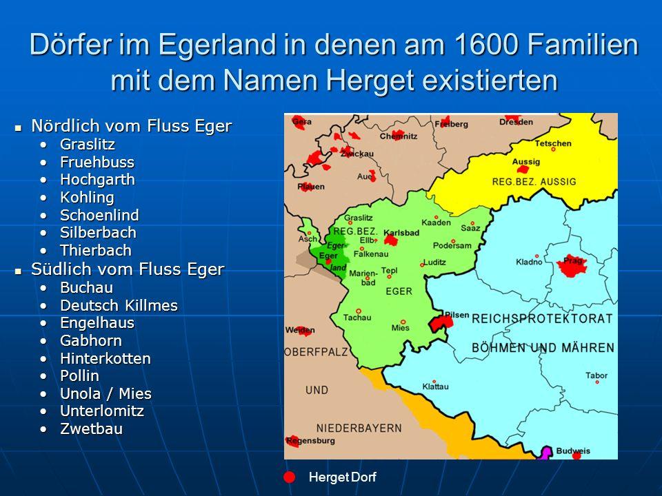 Dörfer im Egerland in denen am 1600 Familien mit dem Namen Herget existierten