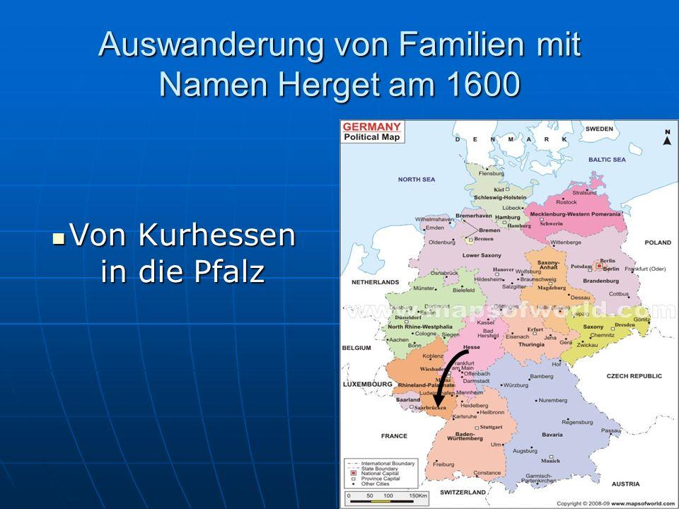 Auswanderung von Familien mit Namen Herget am 1600
