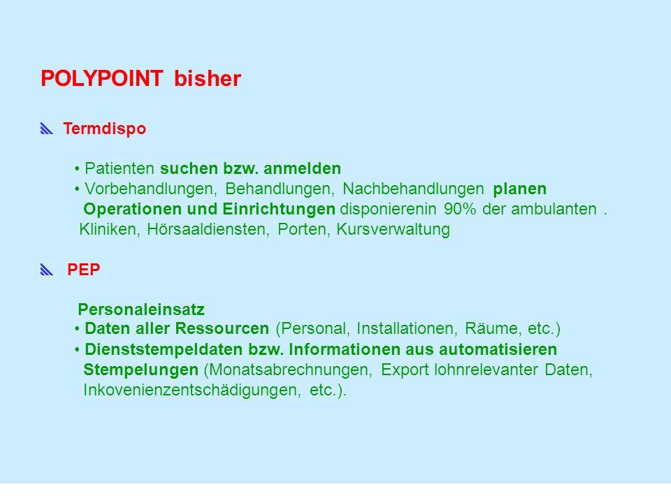 POLYPOINT bisher  Termdispo Patienten suchen bzw. anmelden
