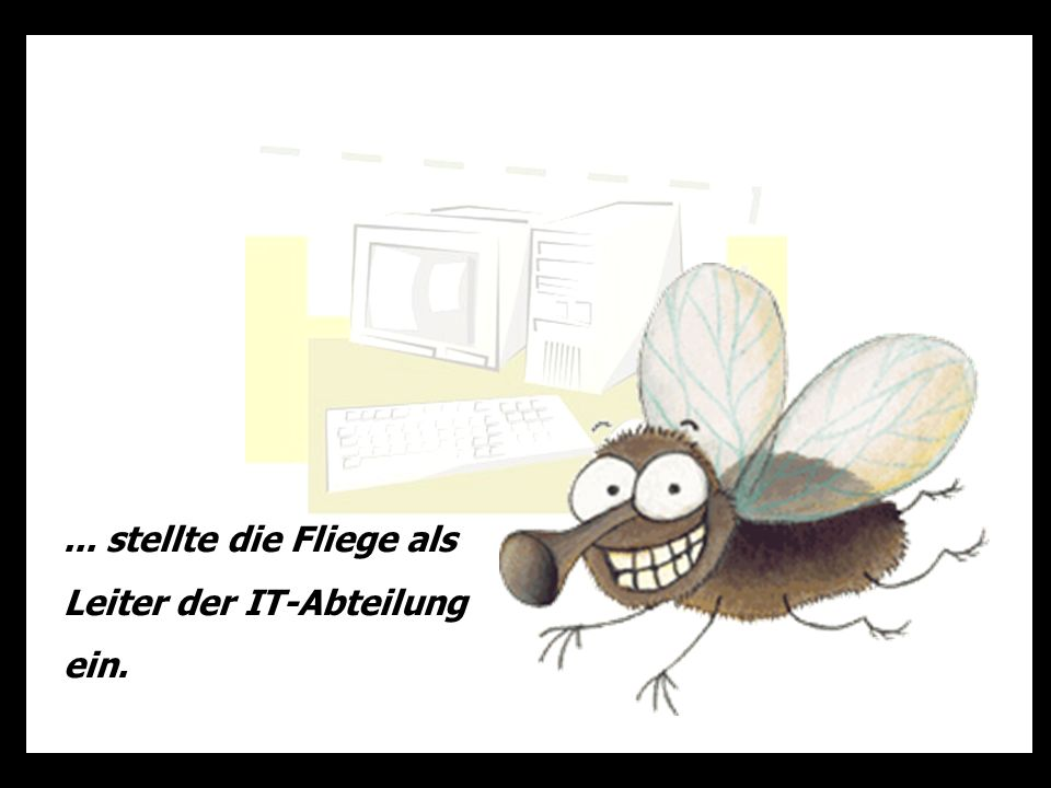 ... stellte die Fliege als Leiter der IT-Abteilung ein.