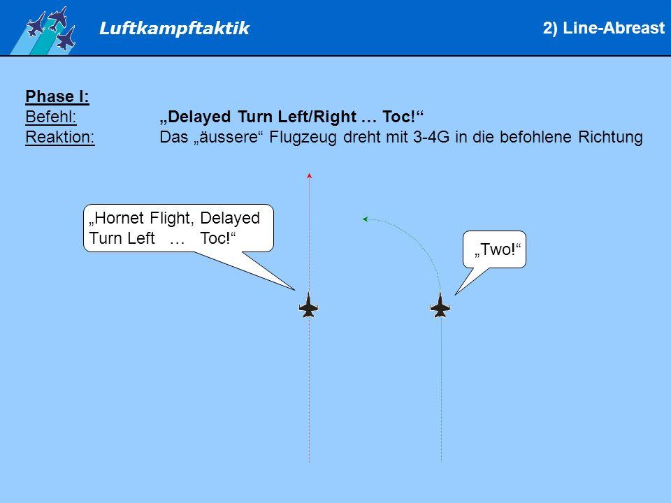 """2) Line-Abreast Phase I: Befehl: """"Delayed Turn Left/Right … Toc! Reaktion: Das """"äussere Flugzeug dreht mit 3-4G in die befohlene Richtung."""