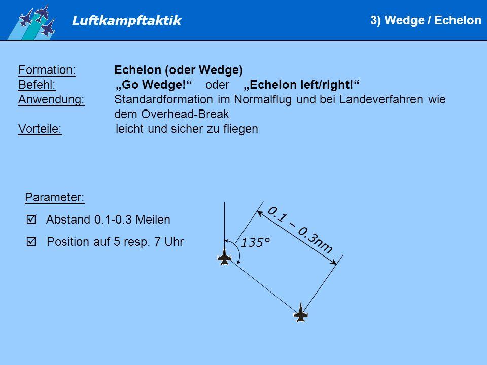 """3) Wedge / Echelon Formation: Echelon (oder Wedge) Befehl: """"Go Wedge! oder """"Echelon left/right!"""