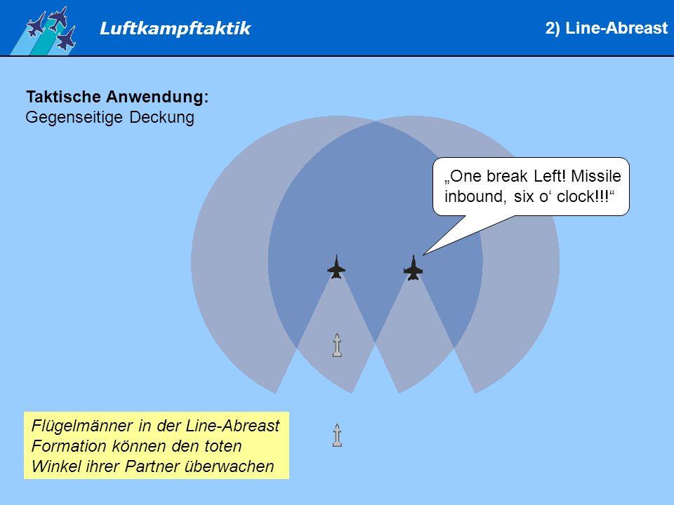 """2) Line-Abreast Taktische Anwendung: Gegenseitige Deckung. """"One break Left! Missile inbound, six o' clock!!!"""