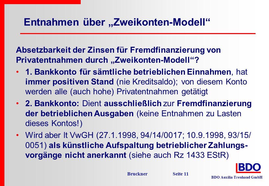 """Entnahmen über """"Zweikonten-Modell"""