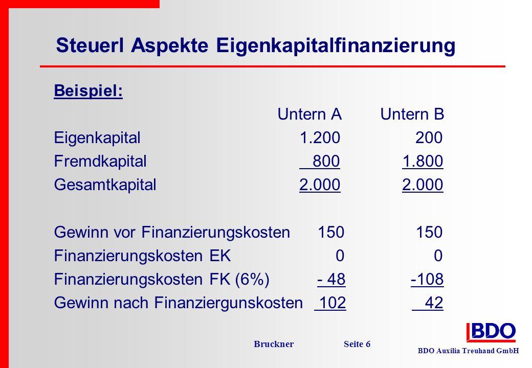Steuerl Aspekte Eigenkapitalfinanzierung