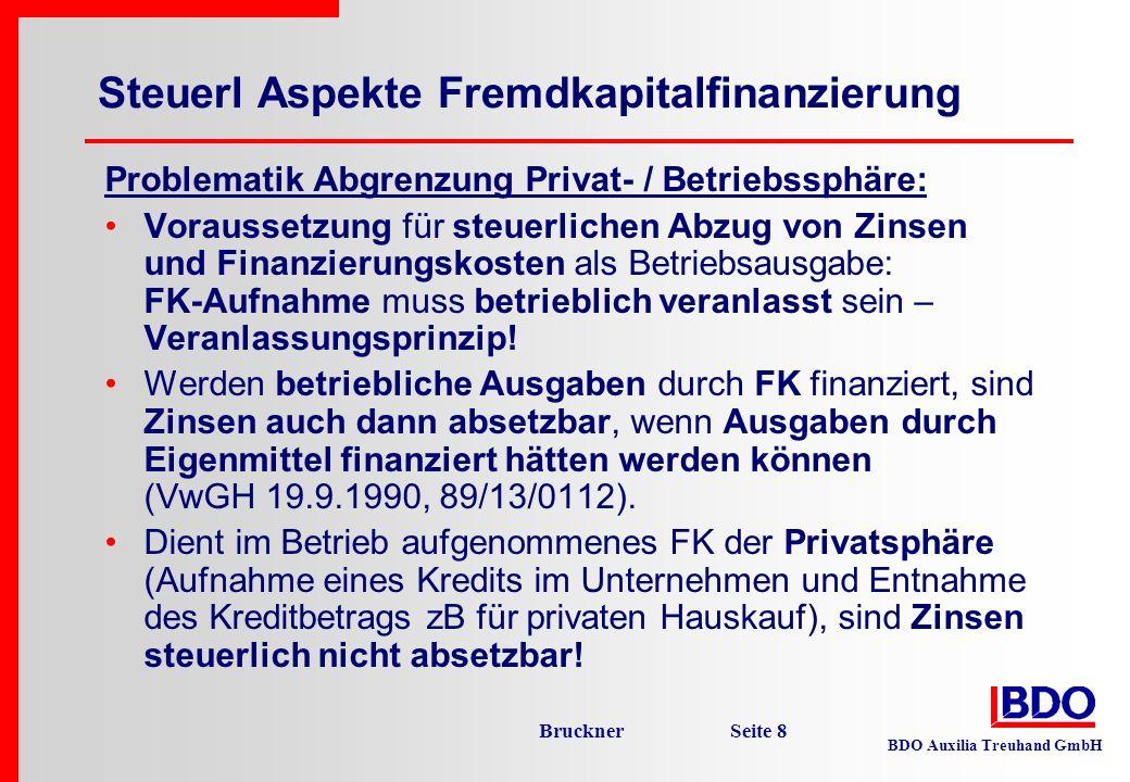 Steuerl Aspekte Fremdkapitalfinanzierung
