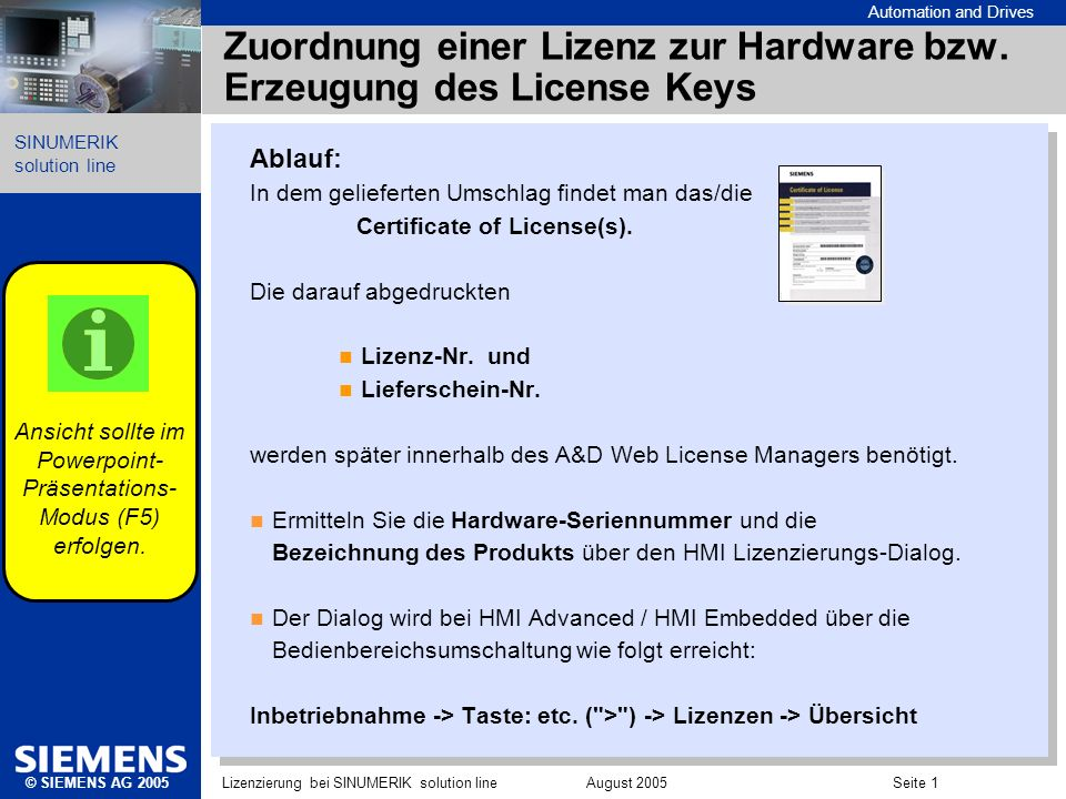 Zuordnung einer Lizenz zur Hardware bzw. Erzeugung des License Keys
