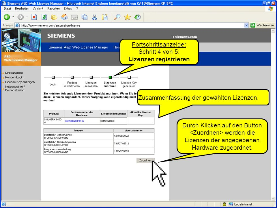 Fortschrittsanzeige: Schritt 4 von 5: Lizenzen registrieren