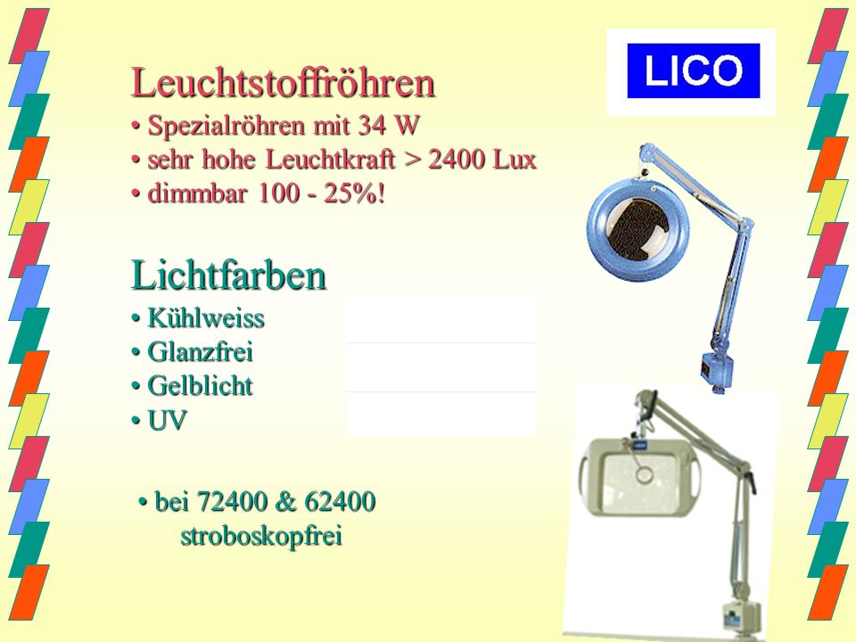 Leuchtstoffröhren Lichtfarben • Spezialröhren mit 34 W