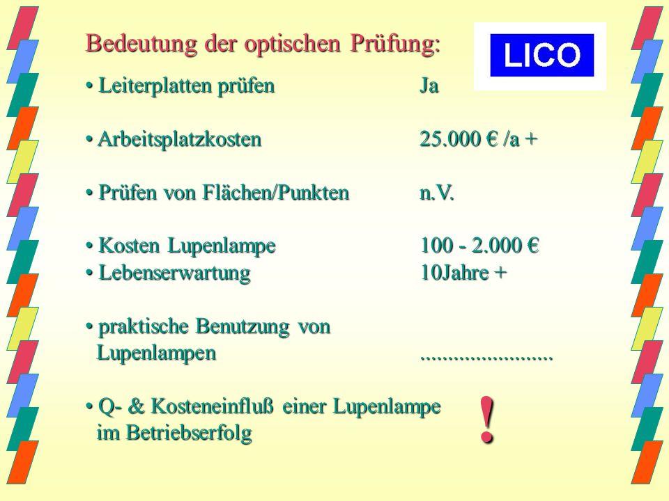 ! Bedeutung der optischen Prüfung: • Leiterplatten prüfen Ja