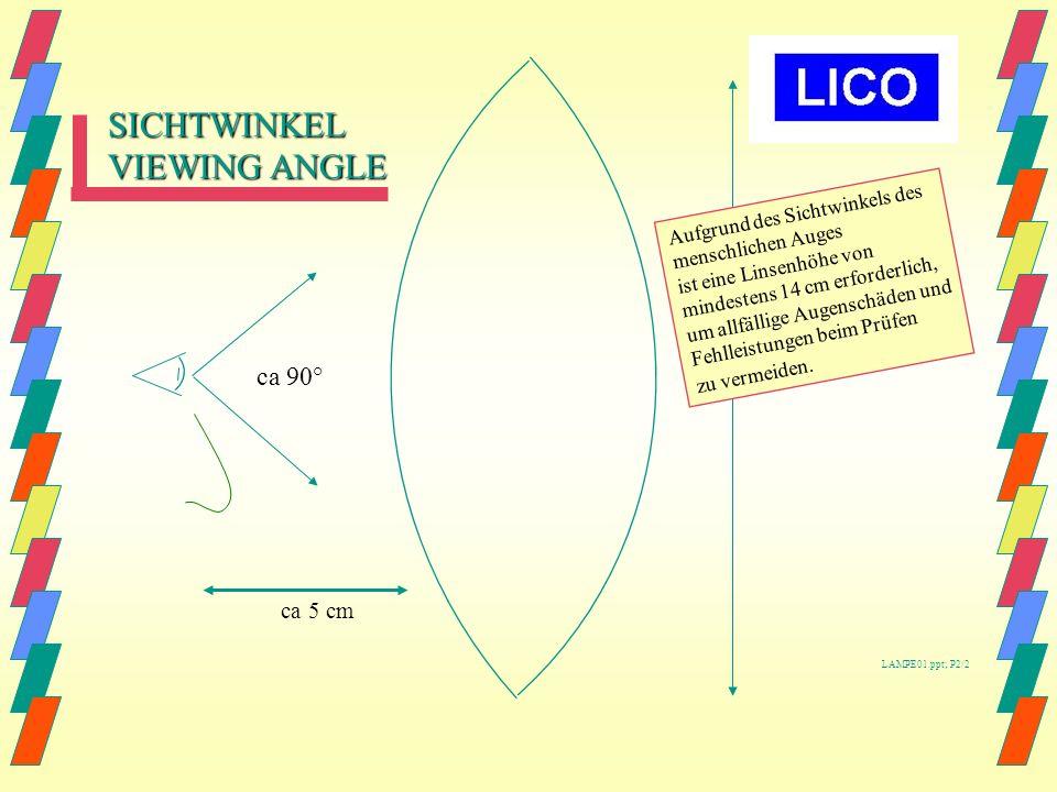 SICHTWINKEL VIEWING ANGLE ca 90° ca 5 cm Aufgrund des Sichtwinkels des