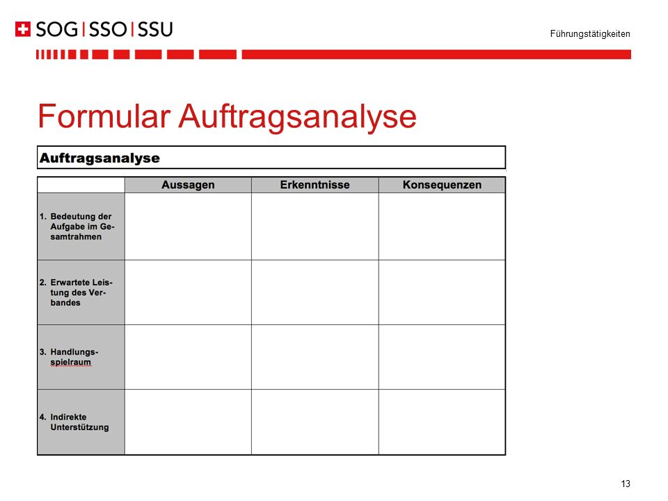 Formular Auftragsanalyse