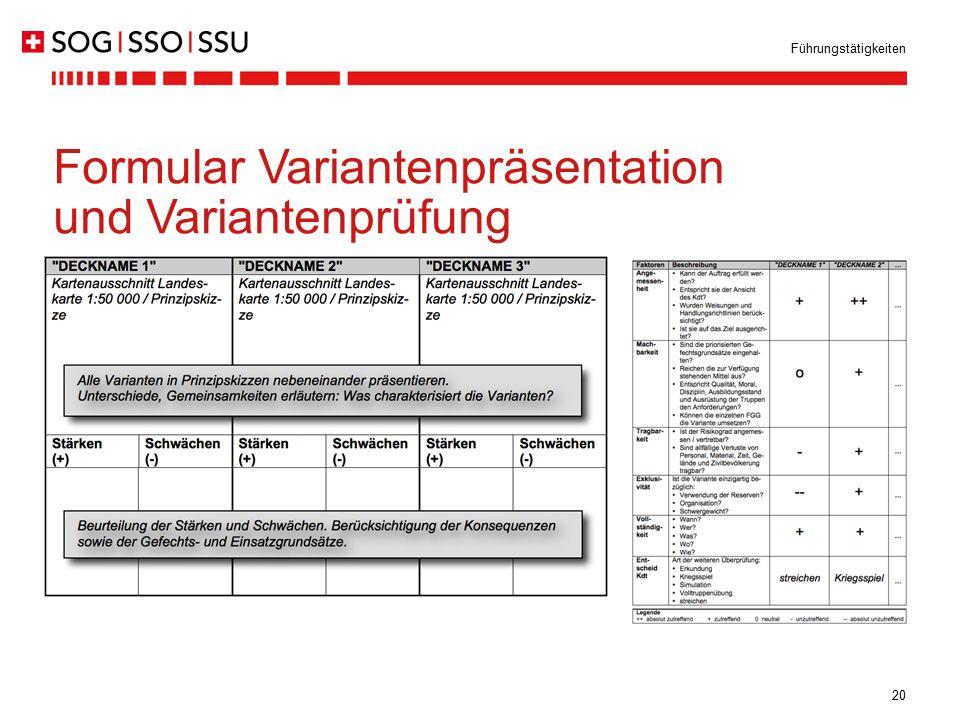 Formular Variantenpräsentation und Variantenprüfung