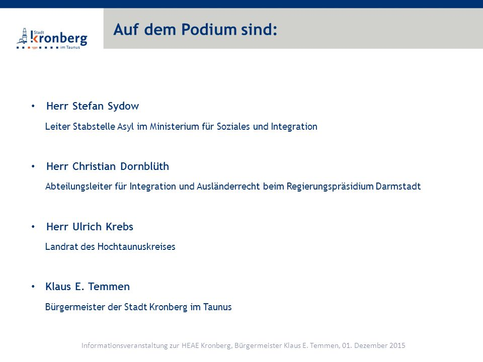 Auf dem Podium sind: Herr Stefan Sydow Herr Christian Dornblüth