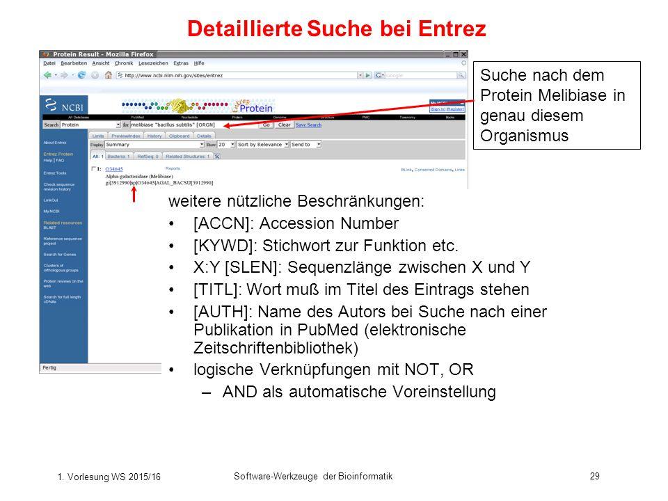 Detaillierte Suche bei Entrez