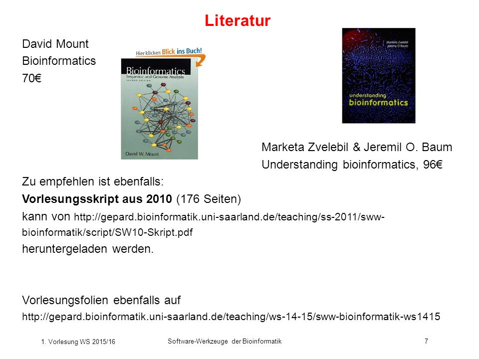 Literatur David Mount Bioinformatics 70€