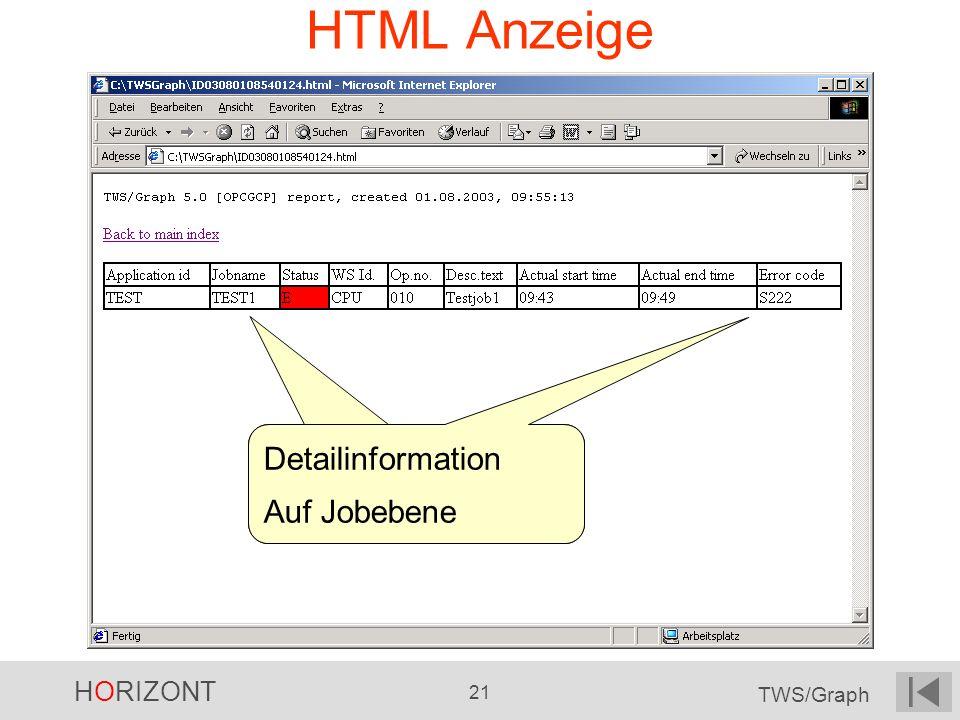 HTML Anzeige Detailinformation Auf Jobebene Detailinformation