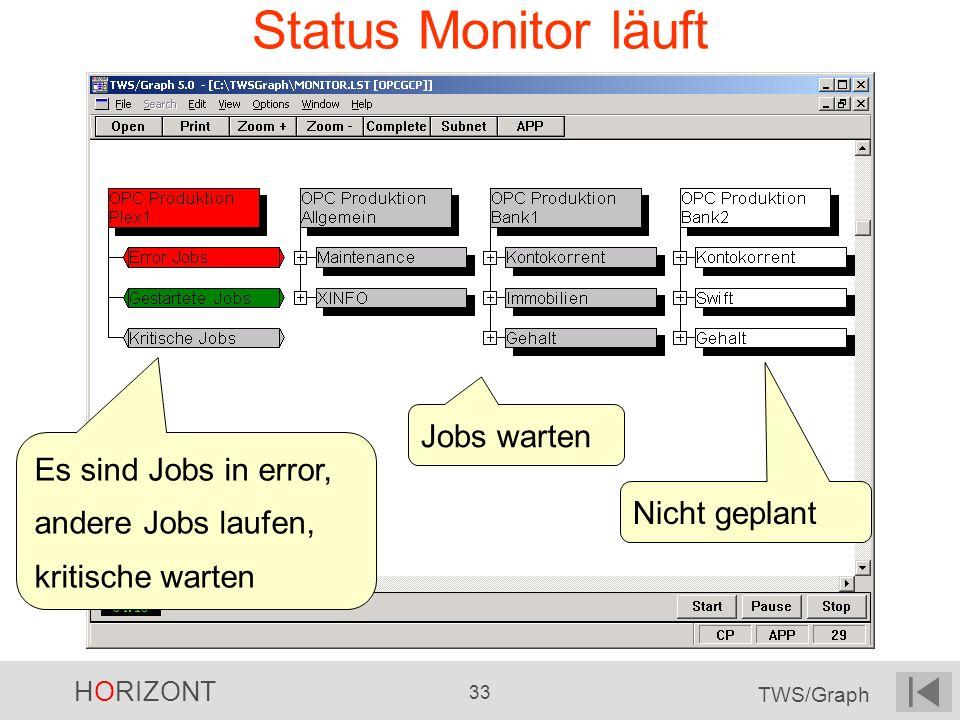 Status Monitor läuft Jobs warten Es sind Jobs in error,