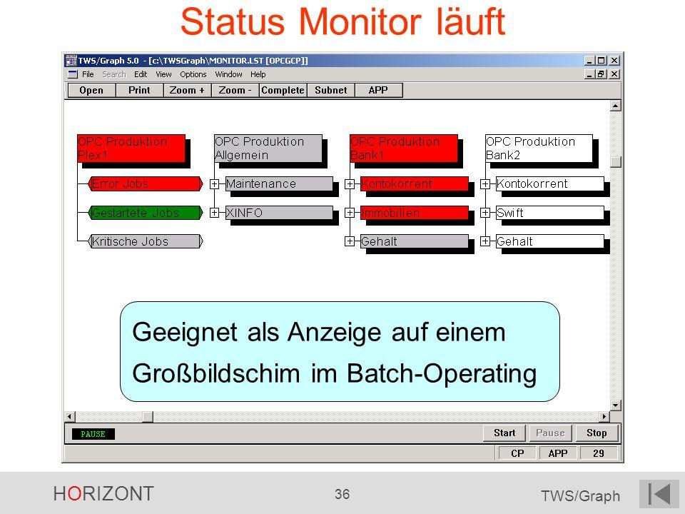 Status Monitor läuft Geeignet als Anzeige auf einem Großbildschim im Batch-Operating