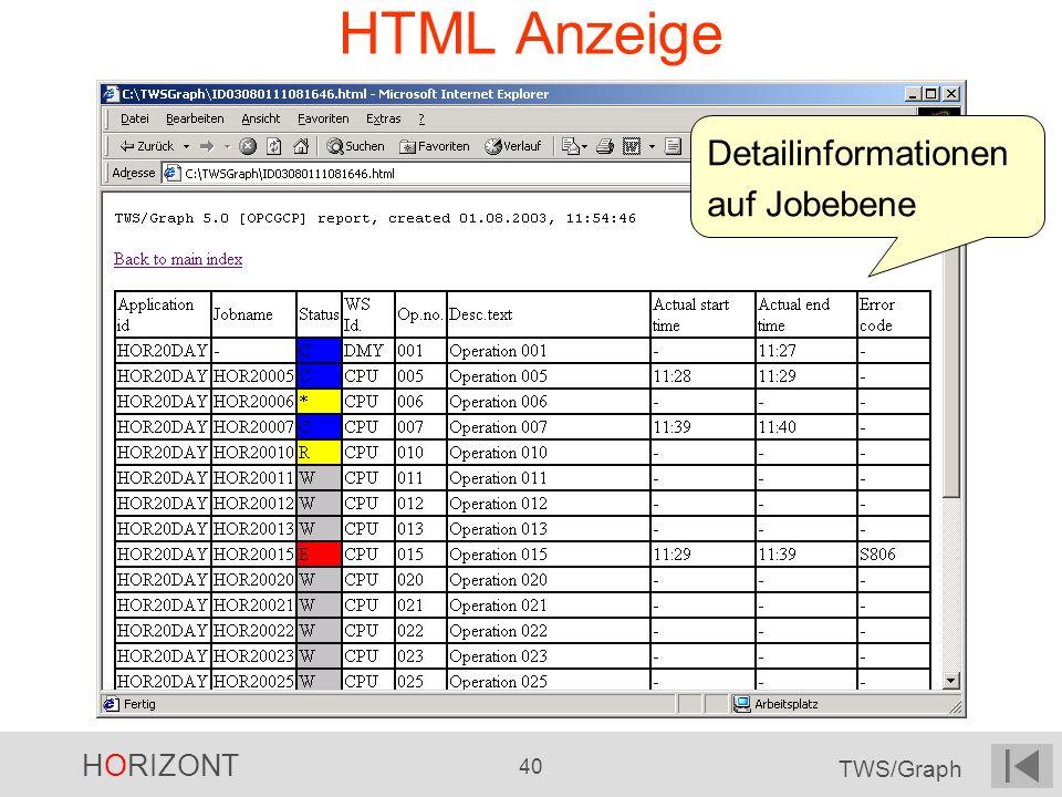 HTML Anzeige Detailinformationen auf Jobebene