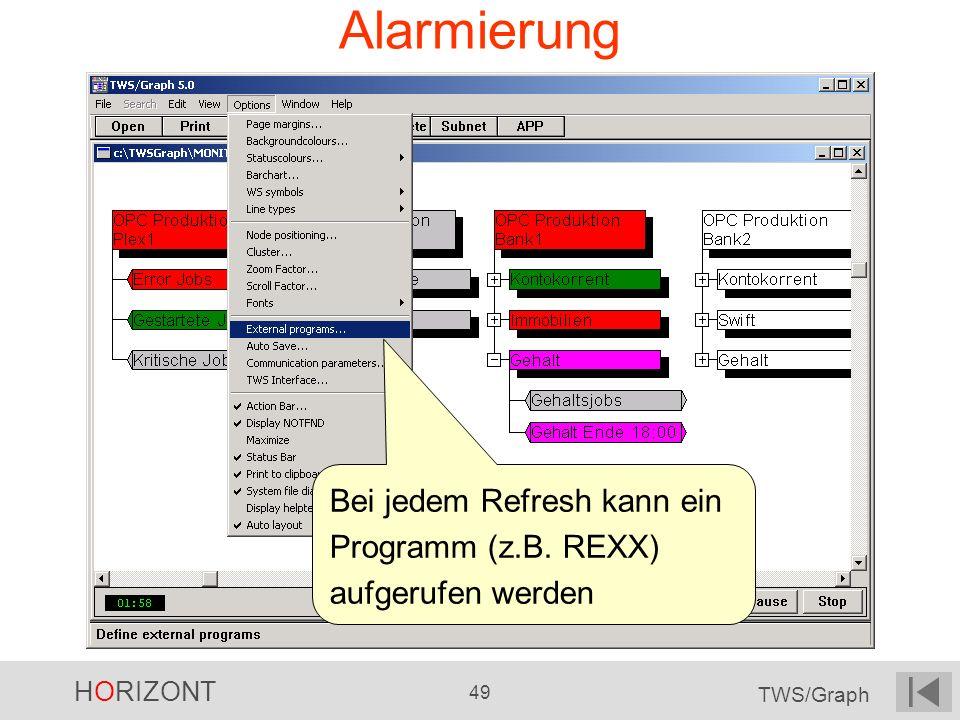 Alarmierung Bei jedem Refresh kann ein Programm (z.B. REXX) aufgerufen werden