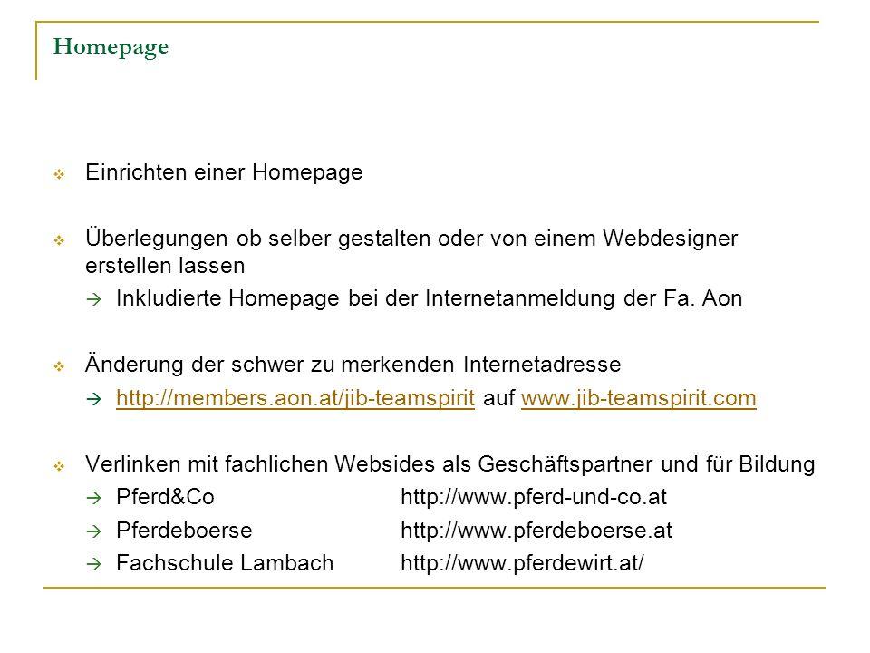 Homepage Einrichten einer Homepage