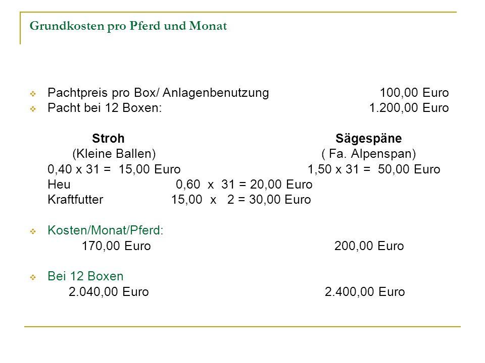 Grundkosten pro Pferd und Monat