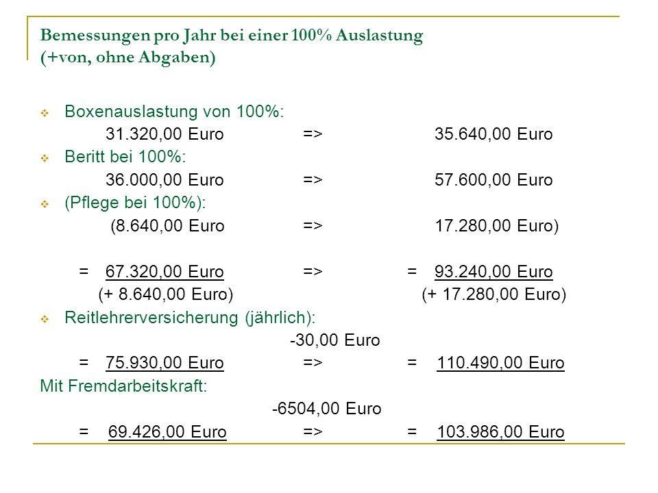 Bemessungen pro Jahr bei einer 100% Auslastung (+von, ohne Abgaben)