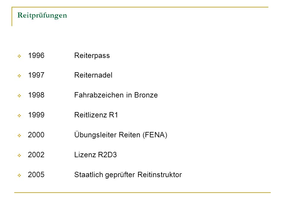 Reitprüfungen 1996 Reiterpass 1997 Reiternadel