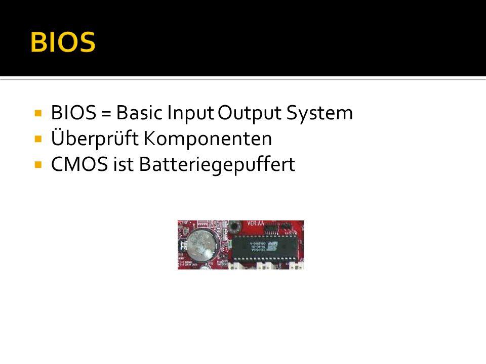 BIOS BIOS = Basic Input Output System Überprüft Komponenten