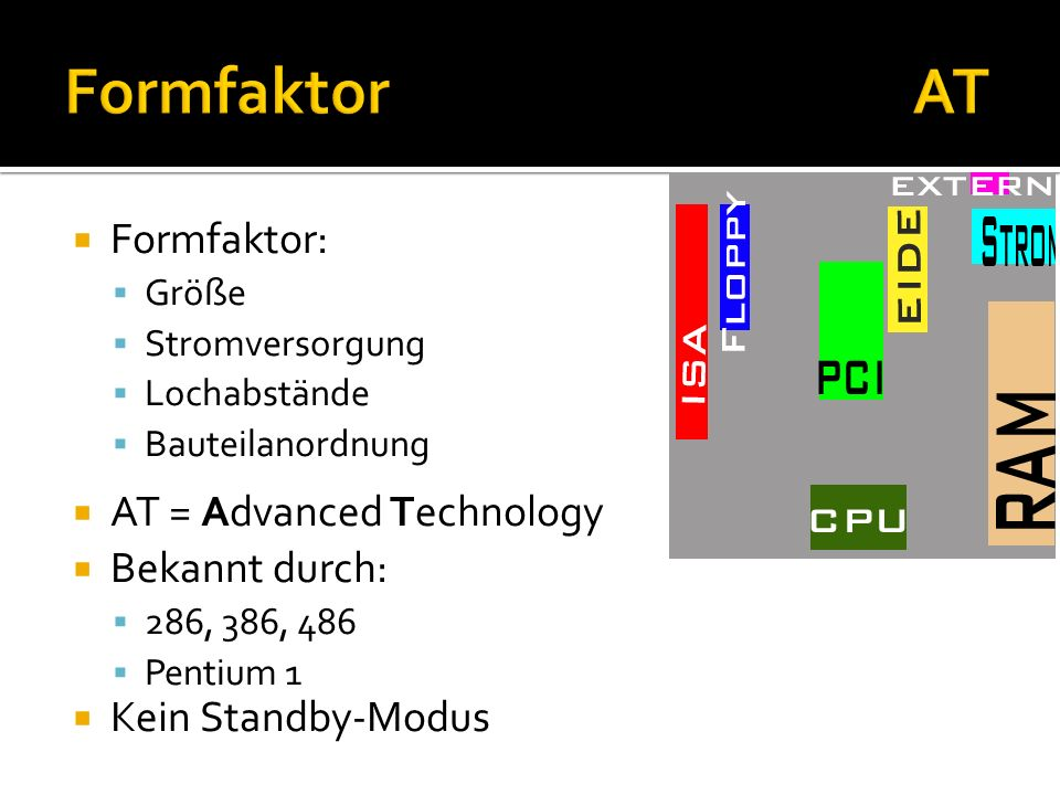 Formfaktor AT Formfaktor: AT = Advanced Technology Bekannt durch: