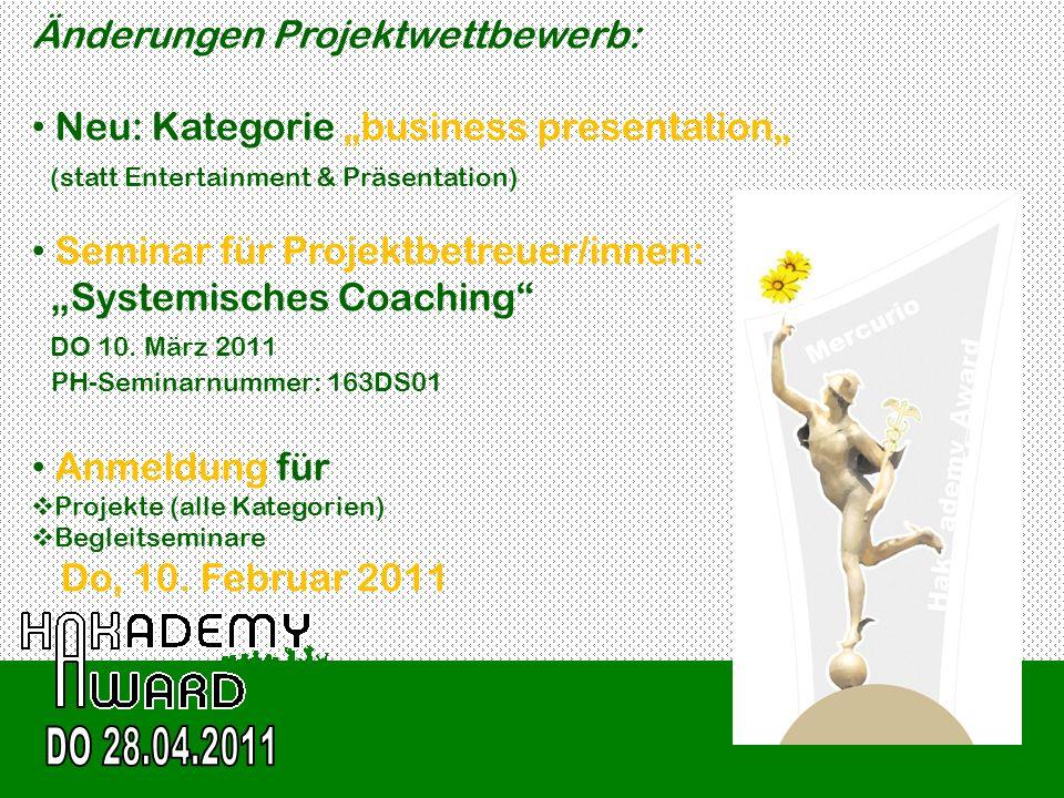 DO 28.04.2011 Änderungen Projektwettbewerb: