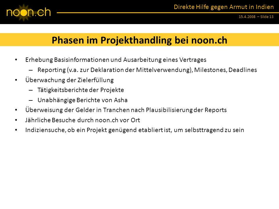 Phasen im Projekthandling bei noon.ch