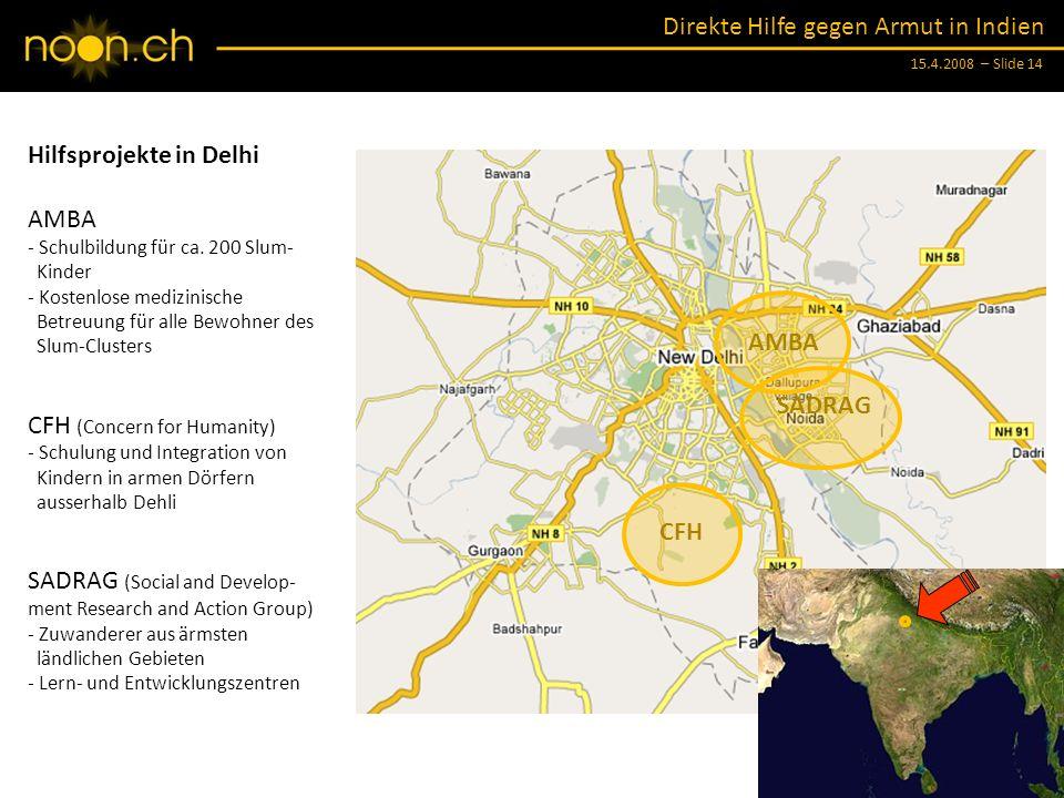 Hilfsprojekte in Delhi AMBA
